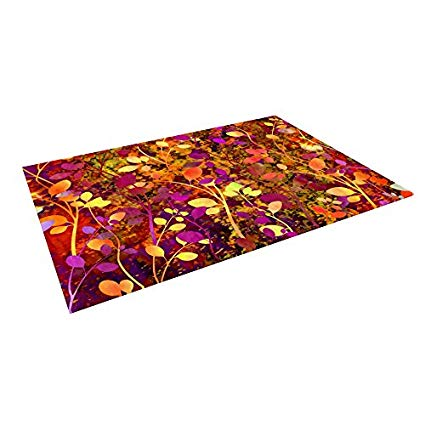 Kess InHouse Ebi Emporium Amongst The Flowers - Warm Sunset Pink Orange Outdoor Floor Mat, 4' x 5'