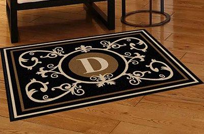 Edinburgh Estate Doormat - Monogrammed Black & Suede D 3 x 4