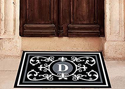 Edinburgh Estate Doormat - Monogrammed Black & White D 2 x 3