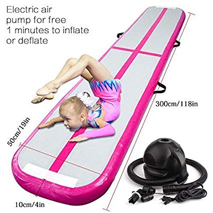 FBSPORT Inflatable Gymnastics AirTrack Tumbling Mat Air Track Floor Mats with Electric Air Pump for Home Use/Training/Cheerleading/Beach/Park and Water