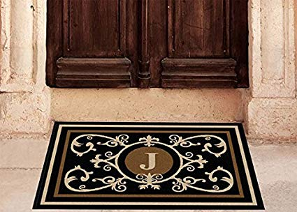 Edinburgh Estate Doormat - Monogrammed Black & Suede J 2 x 3