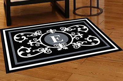 Edinburgh Estate Doormat - Monogrammed Black & White E 3 x 4