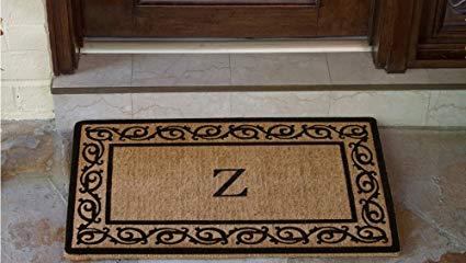 Luxury Coir Monogrammed - Florentine Border (Black) Z 22 X 36