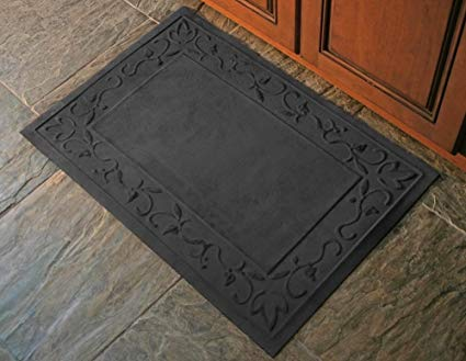 23 in. L x 35 in. W Charcoal Soft Impressions Vines Floor Mat