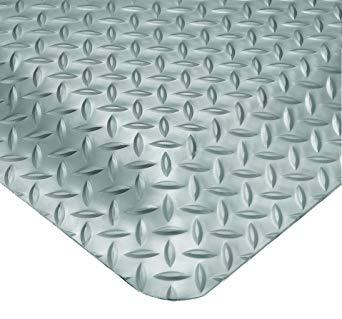 Wearwell 414.1516x3x5GY Diamond-Plate SpongeCote UltraSoft Mat, 3' Width x 5' Length x 15/16