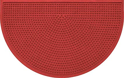 Bungalow Flooring Aqua Shield Squares Half-Round Mat, Solid Red