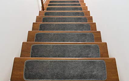 Washable, Slip Skid Resistant Rubber Back Stair Tread Mats, 9 inch by 28 inch, Solid, Dark Grey, Set of 13