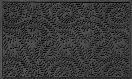 Bungalow Flooring Waterhog Doormat, 3' x 5', Skid Resistant, Easy to Clean, Catches Water and Debris, Boxwood Collection, Charcoal
