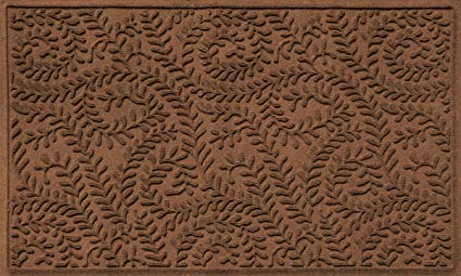 Bungalow Flooring Waterhog Doormat, 3' x 5', Skid Resistant, Easy to Clean, Catches Water and Debris, Boxwood Collection, Dark Brown