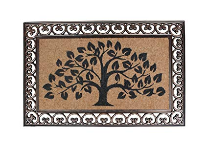 A1 Home Collections First Impression Hand Finished Rubber and Coir Tree of Life Classic Paisley Border Extra Large Double Doormat (30