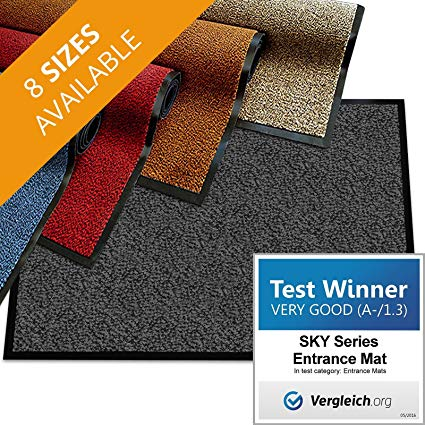 casa pura Premium Entry Mat | Entrance Mat Comparison Test Score: Very Good (A-/1.3) | Ideal as Front Door Mat or Entry Rug | Charcoal Gray - 48