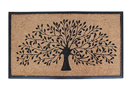 A1HC FIRST IMPRESSION Tree Of Life Rubber and Coir Double Doormat | 30 x 48 Inch | Standard Double Doormat| Large Size Doormat |Rubber Backed | Outdoor Mat | Durable and Long Lasting