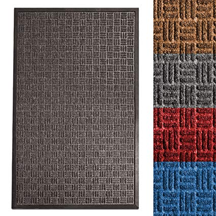 casa pura Entrance Mat | Embossed Front Door Mat | Indoor and Outdoor Entry Rug | Anthracite | 48